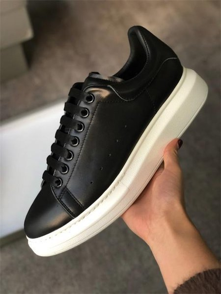 2019aDesigner Shoes NEW GREY Shine Platform Shoes Mens Trainers White Leather Suede Sports Sneakers Flat Casual Party Wedding Shoes US 11