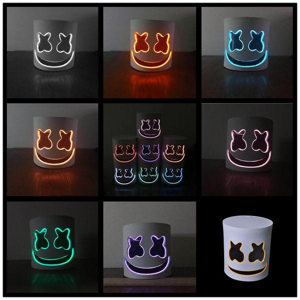 Marshmello DJ máscara dos desenhos animados do Dia Das Bruxas Cosplay Chapelaria Bar Music LED light helmet Props B11