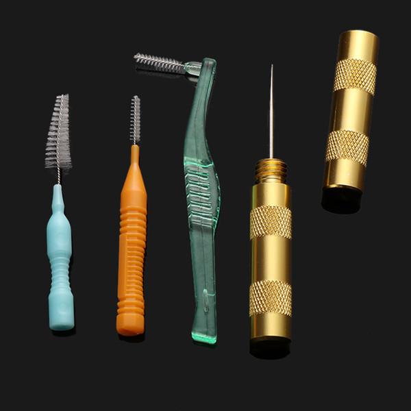 1 ADET Faydalı Temizleme Airbrush Meme Püskürtme Tabancası Tamir İğne 3 Adet Fırça Seti Aracı Rastgele Renk