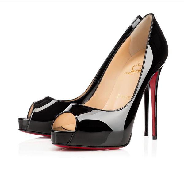 New chri tian women red bottom pump high heel peep toe tiletto dre hoe platform patent leather ro e red ilver plu 8 10cm, Black