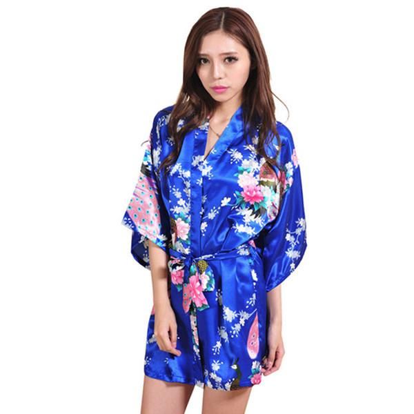 Hot Sale Navy Blue Women Kimono Robe Obi Japanese Yukata Geisha Dress Sexy Lingerie Rayon Nightgown Sleepwear Bathrobe 14 Colors