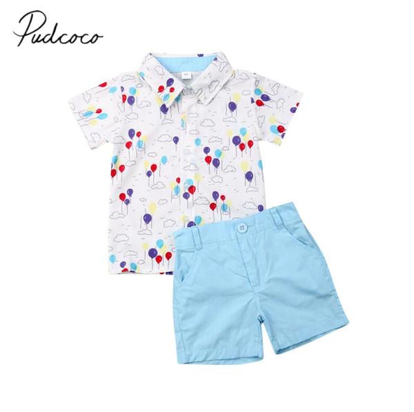2019 Bebê Roupas de Verão Da Criança Do Bebê Terno Formal Flor Vestido Camisa + Calções Bottoms Outfits Bolas de Impressão 2 Pcs Roupas 1-6A