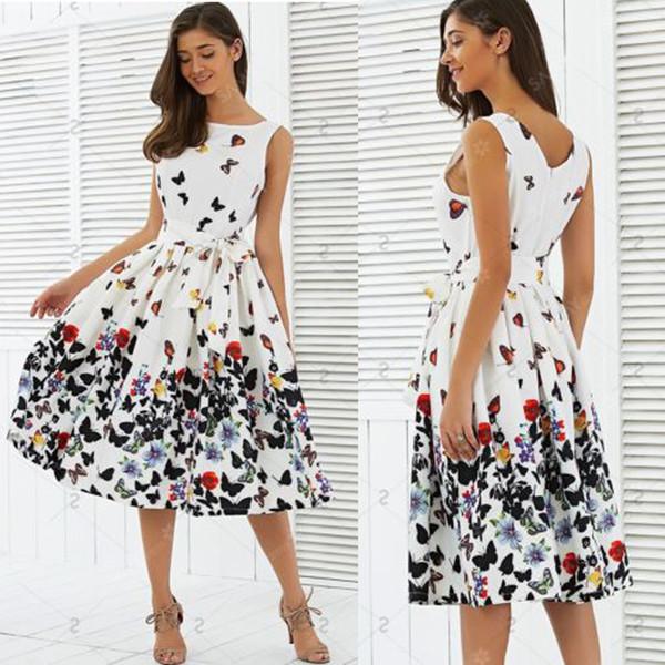 Uns frauen sommer vintage boho lange midi dress party strand dress floral sommerkleid