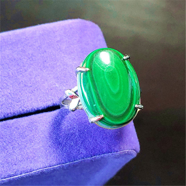 Genuine Green Natural Chrysocolla Malachite Gems Stone Rings Adjustable Size Fashion Silver Wedding Party Woman Ring