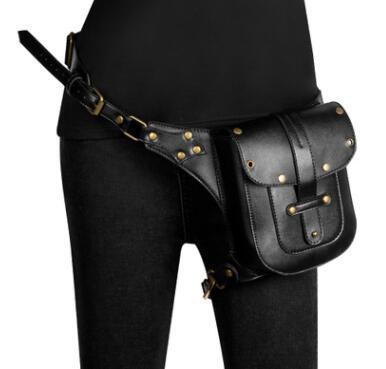 Kadınlar Siyah Deri Steampunk Bacak Bacak Kalça Kılıf Cüzdan Cüzdan Kılıfı Mini Bel Paketleri / Messenger Bag