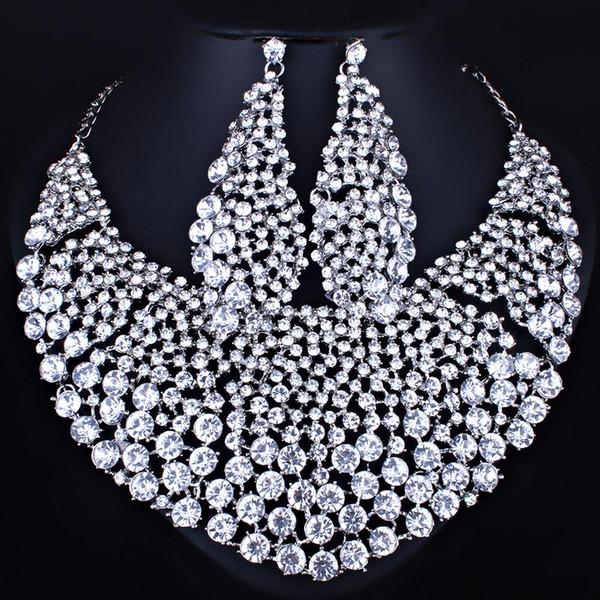 vendita all'ingrossoFARLENA Gioielli Pietre strass trasparenti Grande collana e orecchini per le donne Indiani set di gioielli da sposa