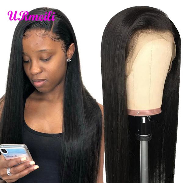360 Tam Dantel İnsan Saç Peruk Düz Brezilyalı Virgin İnsan Saç Siyah Kadınlar Için peruk Alibaba 150% Yoğunluk Dantel Ön İnsan Saç Peruk