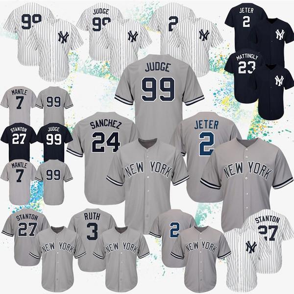 2019 maglie da baseball New York 2 Derek Jeter 99 Aaron Judge 27 maglie Giancarlo Stanton Yankees 7 logo ricamo Topolino