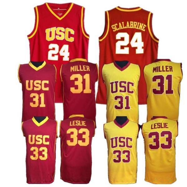 USC Truva atları Koleji Basketbol Forması Brian 24 Scalabrine Ucuz Lisa 33 Leslie Cheryl 31 Miller Üniversitesi Basketbol Dikişli Formalar