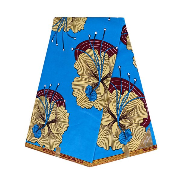 2019 African Pure Cotton Batik Fabric Dashiki Wax Cloth 20 Colors