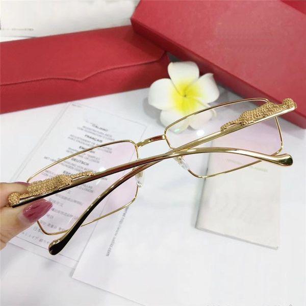 Occhiali ottici retrò classici 3645642 montatura in metallo con montatura quadrata con montatura in metallo con aste animali di alta qualità