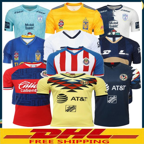 DHL Livraison gratuite 2019 2020 Maillots de football LIGA MX Club America 19 20 Maillots de football UNAM Chivas Tigres PachucaCF Taille peut être mélangé lot