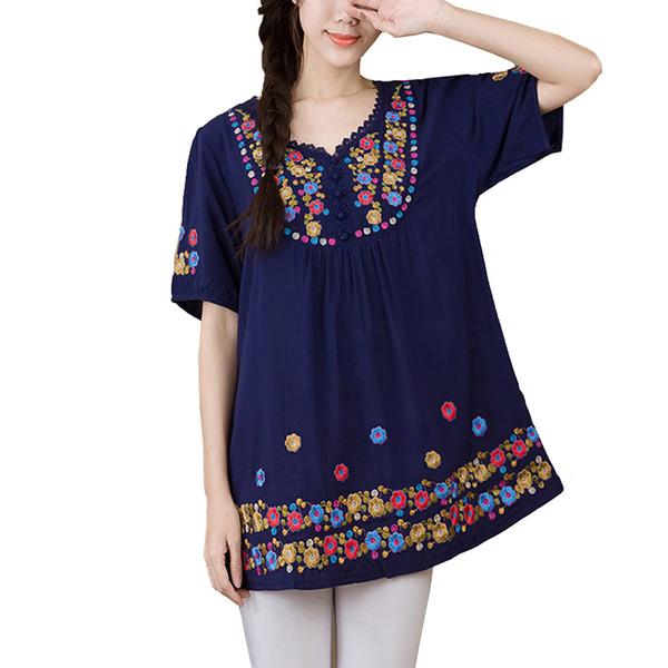 9f84c3a4ec68c0 Blouses Women 2019 Summer Flower Embroidery Vintage Cotton Linen Ladies  Tunics Plus Size L~3XXXL