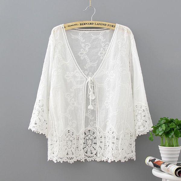 ISHOWTIENDA Große Größe Tunika Shirt Frauen Sommer Gehäkelte Hohle Lac Bluse Sonnenschutz Mit V-ausschnitt Stickerei Bluse blusas mujer moda