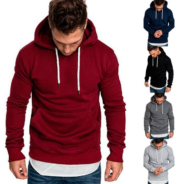 2018 Hot Autumn New Hoodies Sweatshirts Brand Male long Sleeve Top Solid Hoodie Pollovers Mens Black Red Big Size Poleron hombre