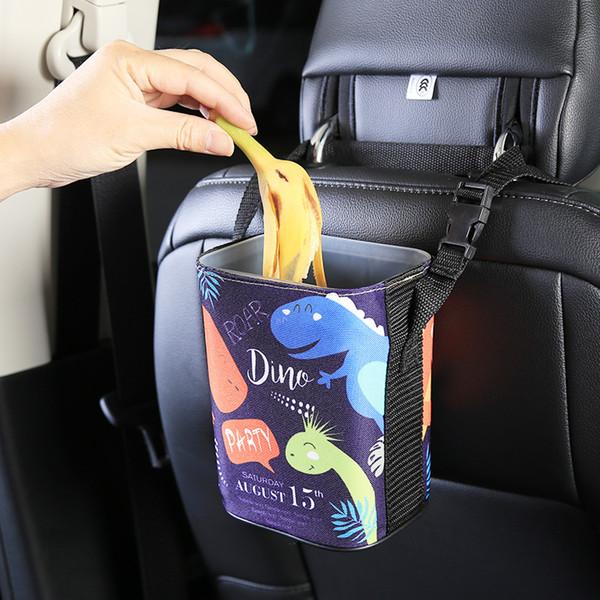 Sedile Trash Can Car Organizer mini supporto di immondizia Vetture bagagli Bag Accessori Auto Back Door fumetto Bin Paper pattumiera