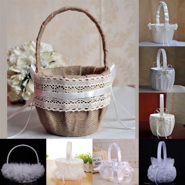 2019 Ceremonia de boda Fiesta Love Case Satén Bowknot Rose cesta de la flor para las mujeres chica DIY decoración del hogar bolsa de almacenamiento contenedor CPA1907-13
