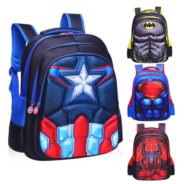 Comic Superman Batman Spaiderman Boy Girl Baby Children Kindergarten Nursery School Bag Bagpack Schoolbags Kids Student Backpack Y19051701