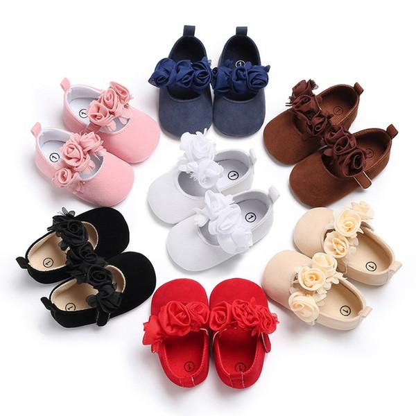 Bebek ilk yürüteç ayakkabı çiçek saf renk süet Yenidoğan bebek yumuşak bebek yürüyor çocuk çocuk bebek ayakkabı ile çiçek