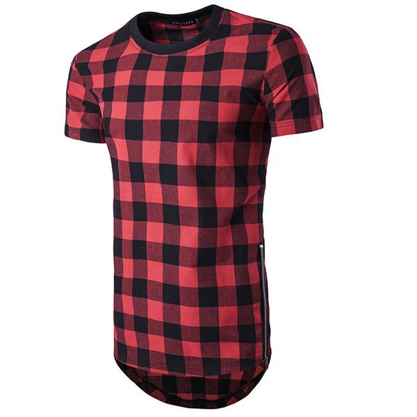 2019 Marka Yeni Boy Gömlek T-shirt Yan Fermuar Hip Hop Hipster Ekose Kazak Tişört Gömlek Moda Streetwear Gömlek