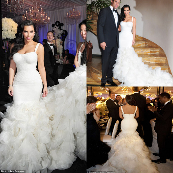 Cathedral Train Kim Kardashian Mermaid Wedding Dresses Spaghetti Straps Ruffles Tiered Country Garden Wedding Gowns Backless Boho Brautkleid Red And