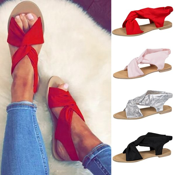 Women's Fashion Casual Peep Toe Open Toe Beach Sandals Slip On Flat With Shoes Women's Solid Color Strap Flat Sandals Slippers
