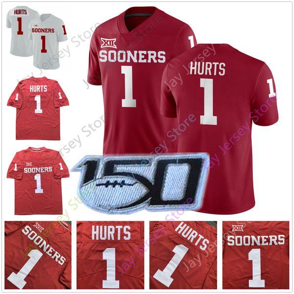 Jalen Hurts Kyler Murray Oklahoma Sooners Jersey Maglie calcio NCAA College Casa Ospite Rosso Bianco Taglia uomo M L XL 2XL 3XL