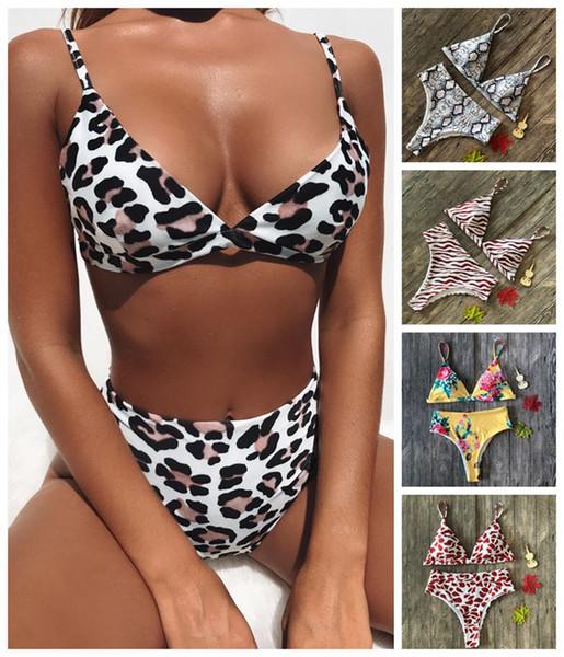 Женщина высокой талией Leopard бикини купальники Мягкий бюстгальтер купальник Купальник сексуальный печатных купальный костюм LJJL59
