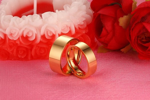 High Polish Stainless Steel Ring for Women Men Lover Yellow Gold Plated Matching Ring Set Wedding Jewelry Gift CR-005