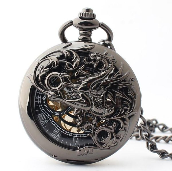 Vintage Hollow Black Flying Dragon Roman Dial Steampunk Pocket Watch Mechanical Hand Wind Skeleton Men Women Gift With Chain