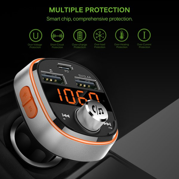 BC51 Bluetooth Car MP3 Player Wireless Car FM Transmitter Charger Hands-Free EQ Mode With Dual USB Ports And PD Interface