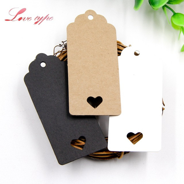 Home & Garden 50PCS Paper DIY Kraft Hollow Love Labels Card Hang Tag Wedding Party Note Blank price Hang Kraft