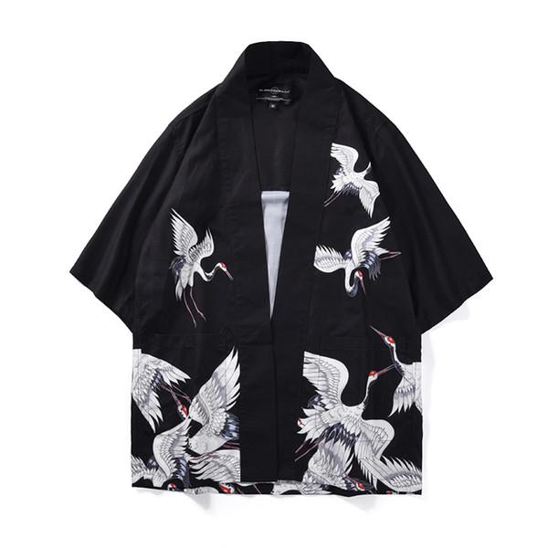 Fashion Kimono Cardigans Men Trench Coat Three Quarter Sleeve Chinese Traditional Design Clothes Loose Fit Polyester Man Tops