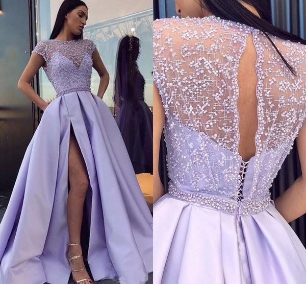 Лаванда Выпускные платья 2020 Bateau Cape Рукав Side Split Sweep Поезд Карманы Satin официально партия вечера Платья для особых случаев платье