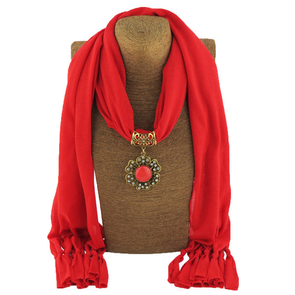 Bohemian Polyester Synthetic Stone Flower Pendant Scarf Necklace For Women New Boho Designer Fashion Jewelry Bijoux scarves
