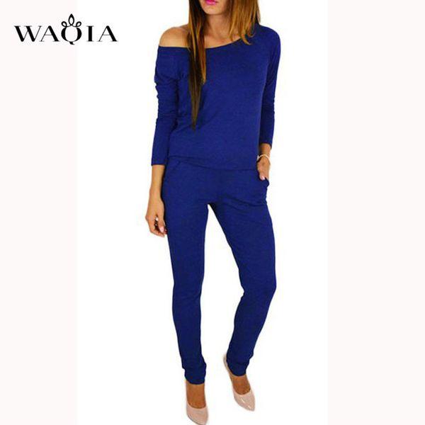 Waqia Jumpsuit Women Sexy Off Shoulder Slash Neck Long Sleeve Women Jumpsuit Elegant Slim Long Pants Jumpsuit For Women 2018 Y19060501