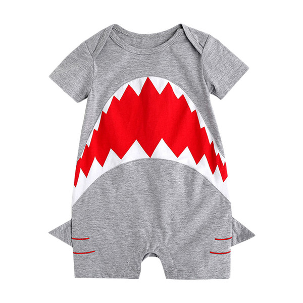 best selling Newborn Baby Boy Toddler Shark Rompers Gray Jumpsuits Short Sleeve Cute Summer Baby Clothing Animal Kids Clothes