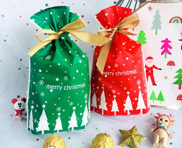 Kırmızı yeşil Noel ağacı halat çanta dekorasyon hediye paketi çanta ekmek çerez bisküvi şeker sarma çanta parti tedarik şekeri