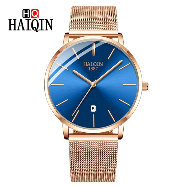 HAIQIN Men's Watches Fashion Lady Watch Woman Quartz Sports Watch Slim Top  Gold Men Women Relogio Masculino