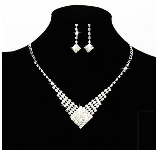 2019 Hot Sale In Stock Cheap Shinning Rhinestone Wedding Party Earring Bracelet Necklace Ring Jewel Set for Women Prom Evening Free Shipping