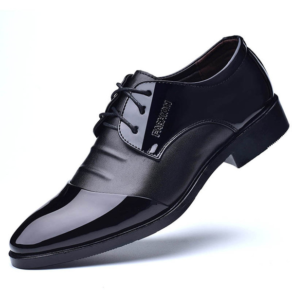 plus size 38-48 leather formal shoes men brown dress oxford shoes wedding classic black lace-up banquet flats sapato masculino