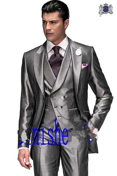 Mais recente projeto um botão de prata do noivo smoking pico lapela Groomsmen Melhor Prom Man casamento ternos jantar (Jacket + calça + Vest + Tie) 4224