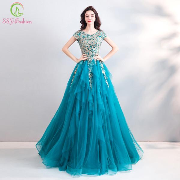 venta al por mayor Nueva Vintage Peacock azul vestido de noche bordado de encaje una línea palabra de longitud formal de lujo vestido de gala vestido Robe De