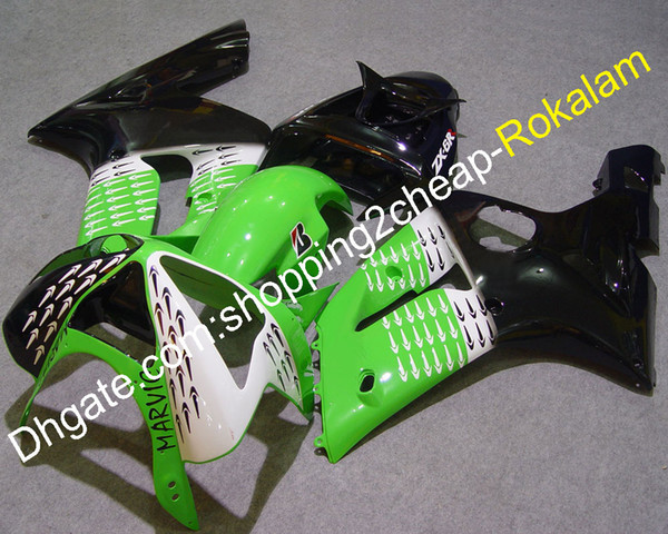 Motorcycle Part For Kawasaki Fairing kit 2003 2004 ZX6R ZX 6R 636 ZX-6R 03 04 Motorbike Shell Green White Black (Injection molding)