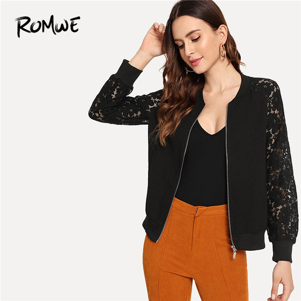 Lace Insert Sleeve Zipper Up Jacket 2019 Black Raglan Sleeve Women Bomber Outer Spring Stand Collar Long Coat