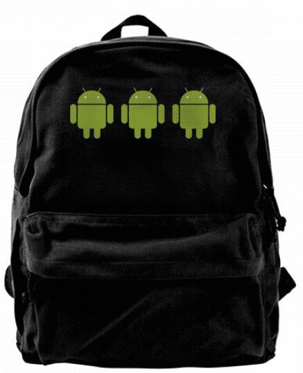 Android робот набор из трех Моды холст дизайнер рюкзак для мужчин женщин подростков колледж путешествия рюкзак досуг сумка черный