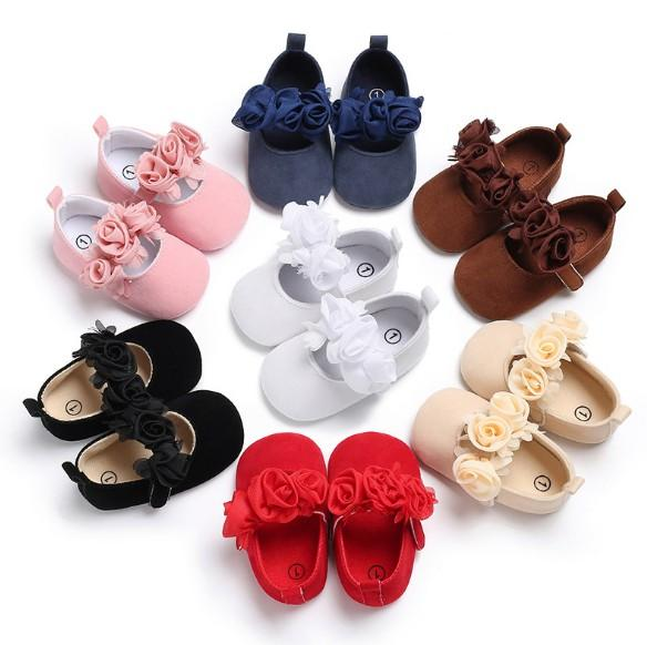 Spring and Autumn Style 0-1-year-old Nvbao Princess Style Flower Dance Shoes Baby Soft-soled Walking Shoes
