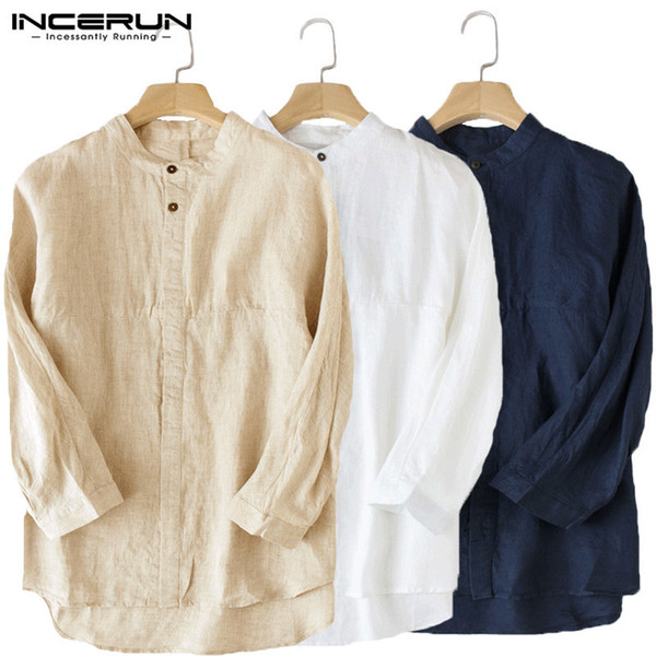 de09d67e5 Incerun Casual Shirt 3/4 Sleeve Stand Linen Baggy Male Tops Blouse Solid Collar  Cotton