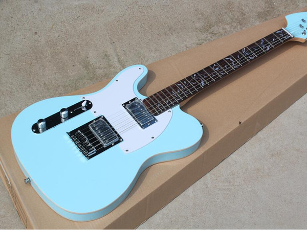 free shipping Factory Sky Blue Left Hand Electric Guitar with Tree of Life Fret Inlay,White Pickguard,Double Binding Body,Can be customized