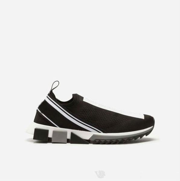 Herren Stoff Stretch Jersey Sorrento Slip-On Sneaker Designer Lady Zweifarbige Micro-Gummisohle Atmungsaktive Freizeitschuhe Größe 35-46 0814